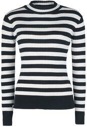 Menace White And Black Stripe Sweater
