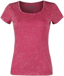 Pinkes T-Shirt mit Crinkle Waschung
