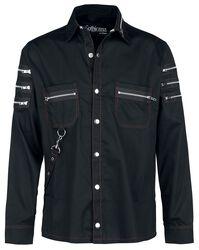 Schwarzes Hemd mit Reißverschlussdetails