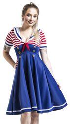 Swing-Kleid im Marinelook