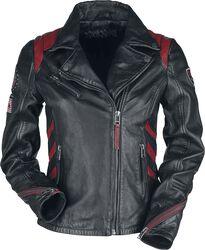 Schwarz/Rote Lederjacke im Biker-Stil mit Patches