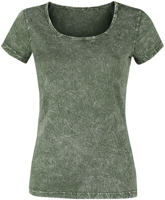 Grünes T-Shirt mit Crinkle Waschung