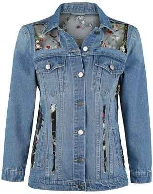 Jeansjacke mit Netzstoff und Blumenstickerei