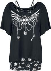 Zweiteiliges Shirt mit Gothic Print und U-Boot-Ausschnitt