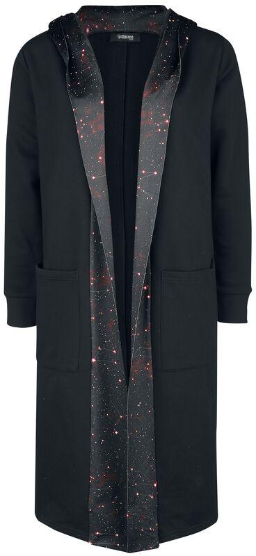 Schwarzer Cardigan mit Galaxy-Print