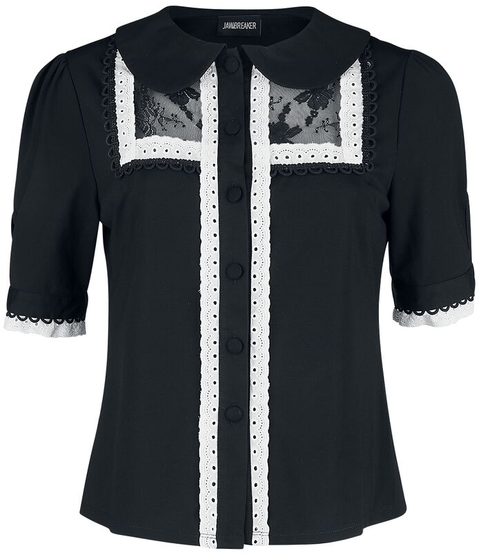 Lace And Trim Collard Button Up Top
