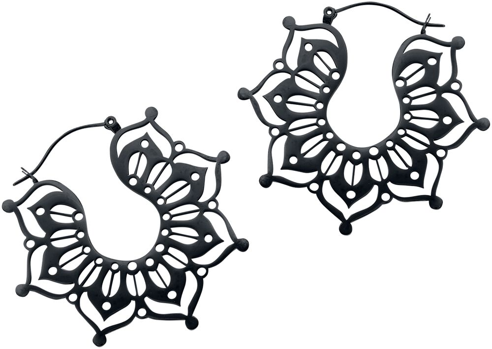 Black Magnolia Hoops