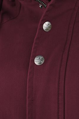 bordeaux farbene Jacke mit Kunstfellkragen und Kapuze