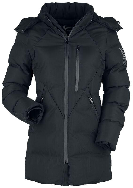 Schwarze Winterjacke mit Steppung und Kapuze