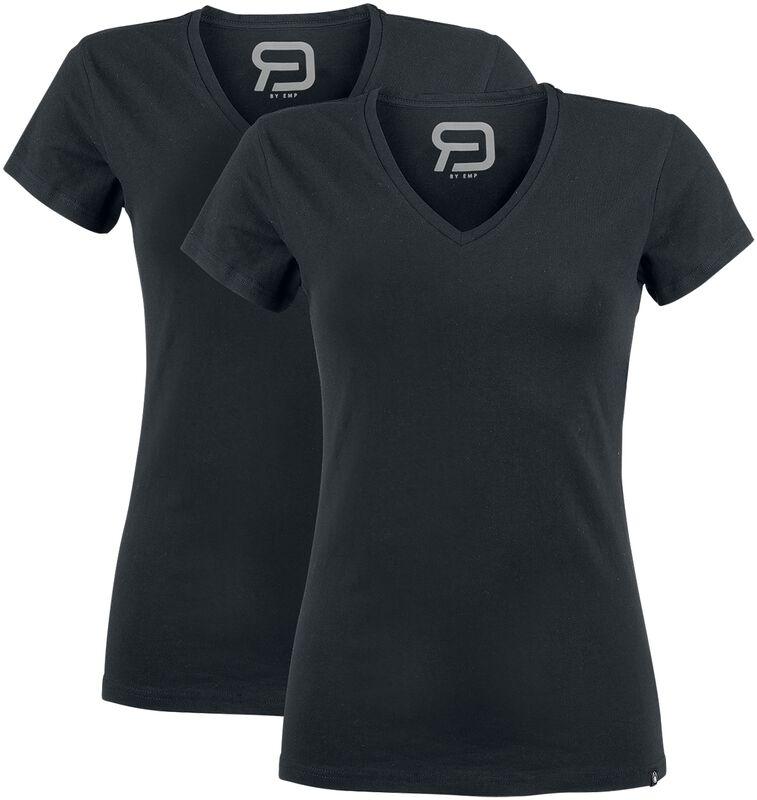 Zwei Schwarze T-Shirts mit V-Ausschnitt