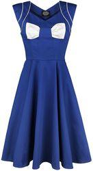 Blue White Bow Lady Hepburn Dress
