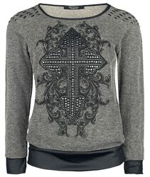 Sweatshirt mit Print und Nieten Rock Rebel