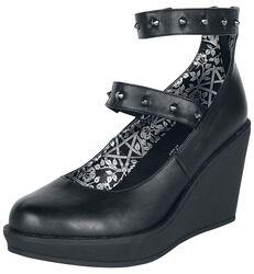 Schwarze High Heels mit Keilabsatz und Riemen