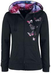 Schwarze Kapuzenjacke mit Schmetterlingsprint