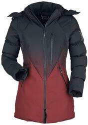 Winterjacke mit schwarz- rotem Farbverlauf