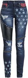 Skarlett - dunkelblaue Jeans mit Prints und vielfältigen Details