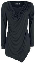 Schwarzes Langarmshirt mit Wasserfallausschnitt