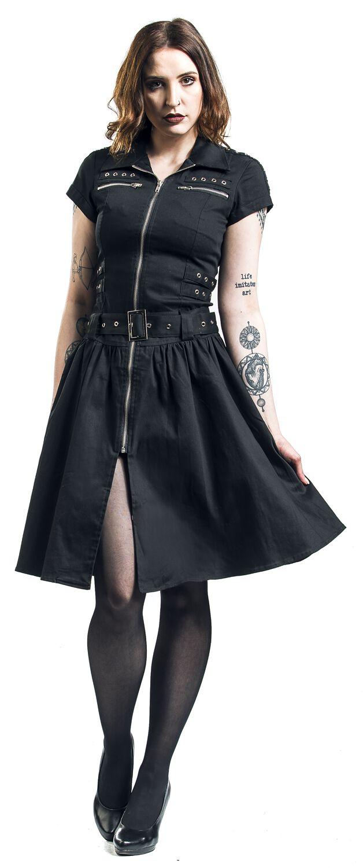 Black Emo Punk Long Dress H R London Mittellanges Kleid Emp