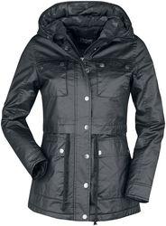 schwarze Jacke mit Klappentaschen