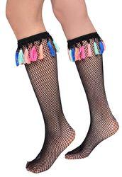 Festival Fishnet Wellie Socks with Tassels