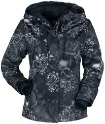 Schwarze Jacke mit Alloverprint