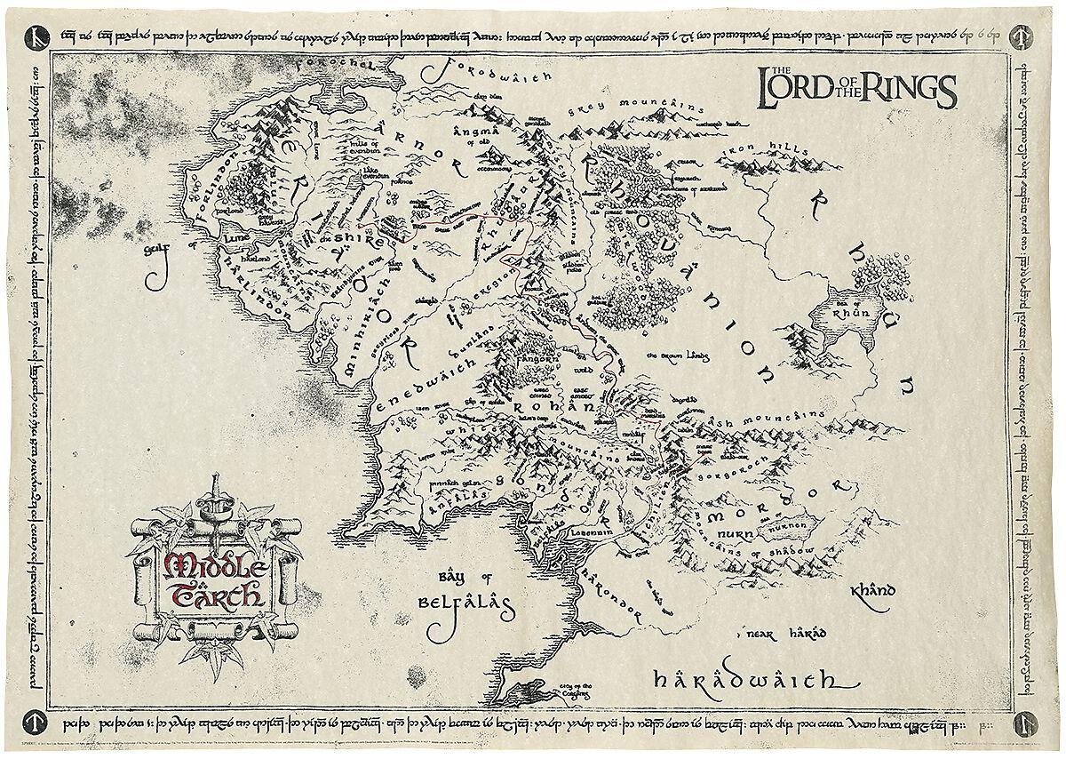 Middle Earth Map Der Herr Der Ringe Poster EMP - Wie lade ich mir maps fur minecraft runter