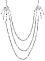 Halskette mit Skeletthänden und Ketten silber
