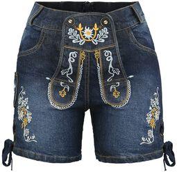 Jeans Lederhose kurz