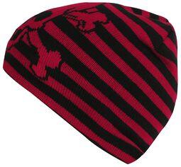 Schwarz-Rot gestreifte Mütze Skull