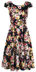 Black Floral Vintage 50s Prom Swing Flared Dress