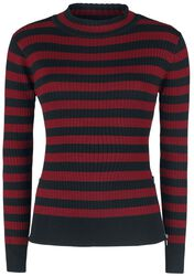 Menace Red And Black Stripe Sweater