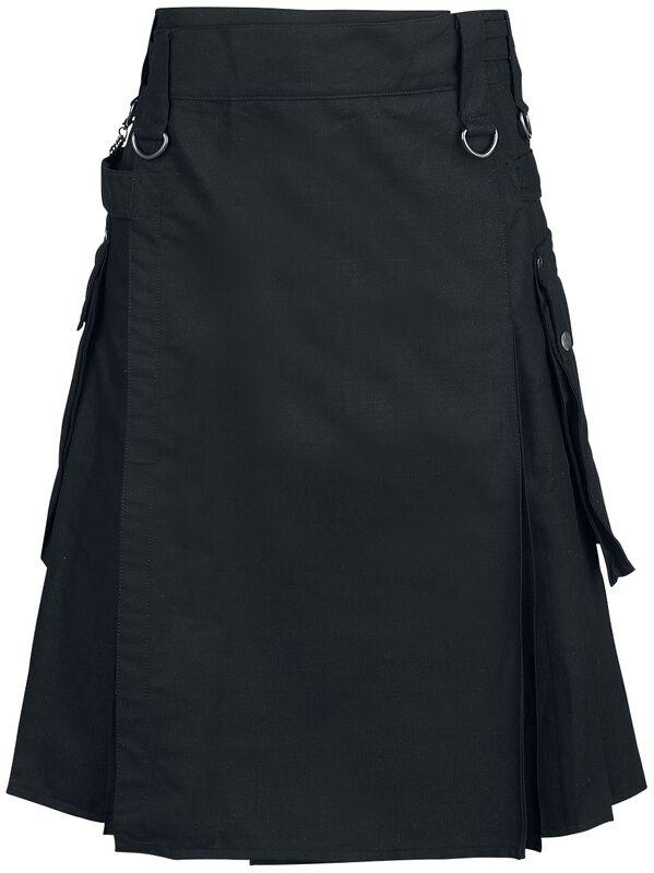 Schwarzer Kilt mit seitlichen Taschen und Falten hinten